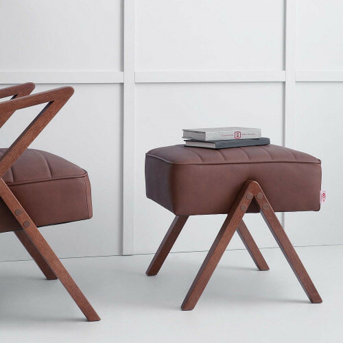 Retrostar Footstool, Leather